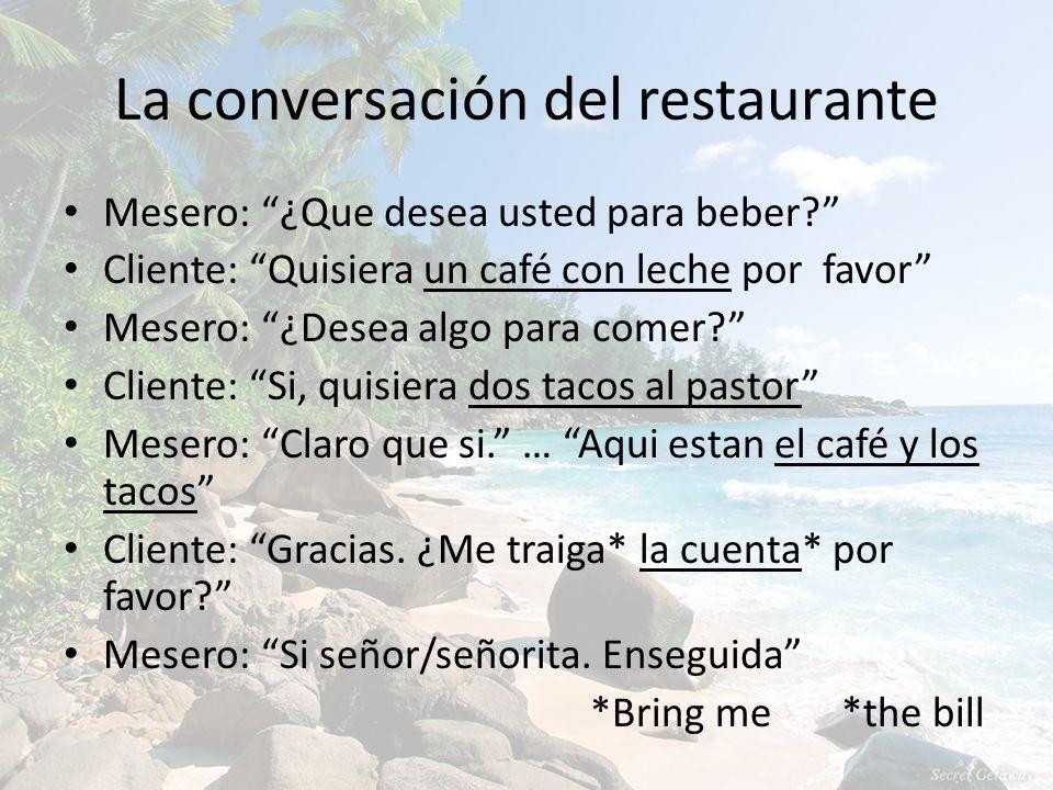 La conversación del restaurante Mesero: ¿Que desea usted para beber.