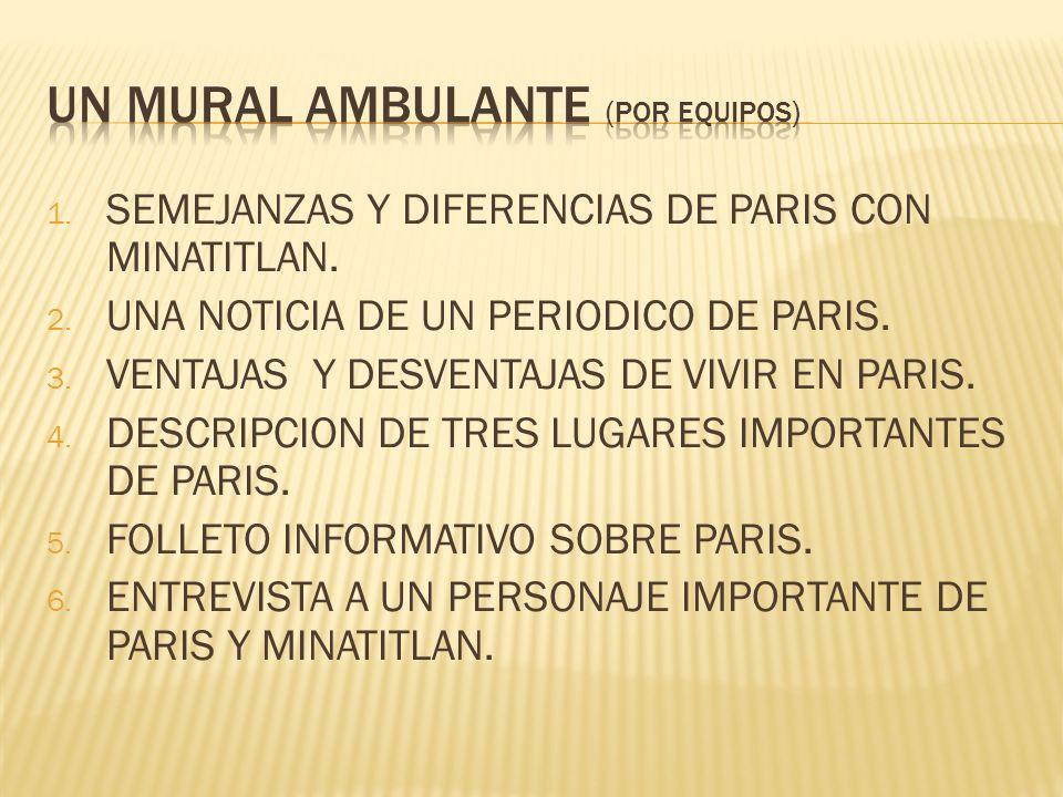 1. SEMEJANZAS Y DIFERENCIAS DE PARIS CON MINATITLAN. 2. UNA NOTICIA DE UN PERIODICO DE PARIS. 3. VENTAJAS Y DESVENTAJAS DE VIVIR EN PARIS. 4. DESCRIPC