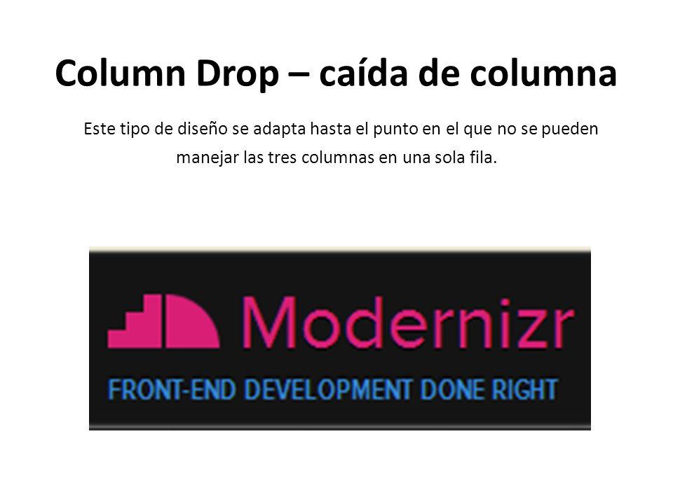 Column Drop – caída de columna Este tipo de diseño se adapta hasta el punto en el que no se pueden manejar las tres columnas en una sola fila.