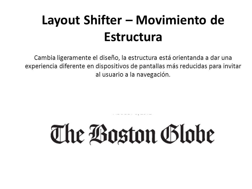 Layout Shifter – Movimiento de Estructura Cambia ligeramente el diseño, la estructura está orientanda a dar una experiencia diferente en dispositivos de pantallas más reducidas para invitar al usuario a la navegación.