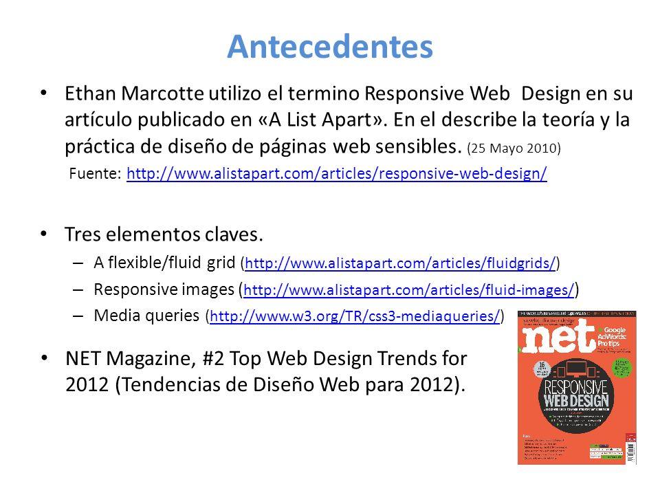 Antecedentes Ethan Marcotte utilizo el termino Responsive Web Design en su artículo publicado en «A List Apart».