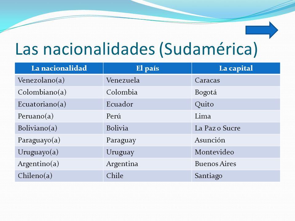 Las nacionalidades (Sudamérica) La nacionalidadEl paísLa capital Venezolano(a)VenezuelaCaracas Colombiano(a)ColombiaBogotá Ecuatoriano(a)EcuadorQuito