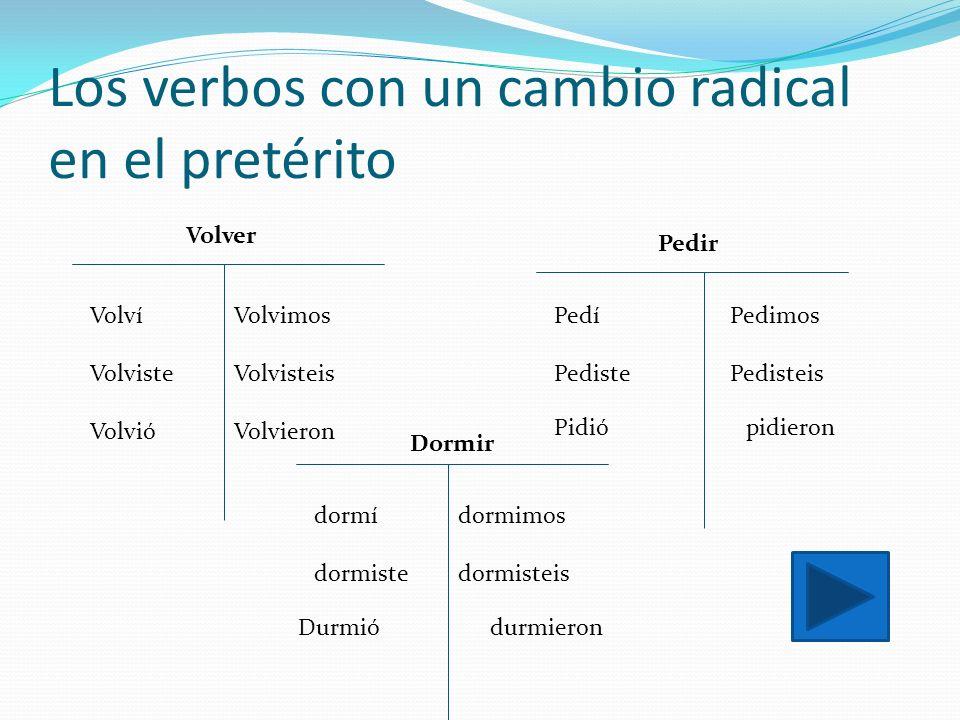 Los verbos con un cambio radical en el pretérito Volví Volviste Volvió Volvimos Volvisteis Volvieron Volver Pedí Pediste Pedimos Pedisteis Pidiópidier