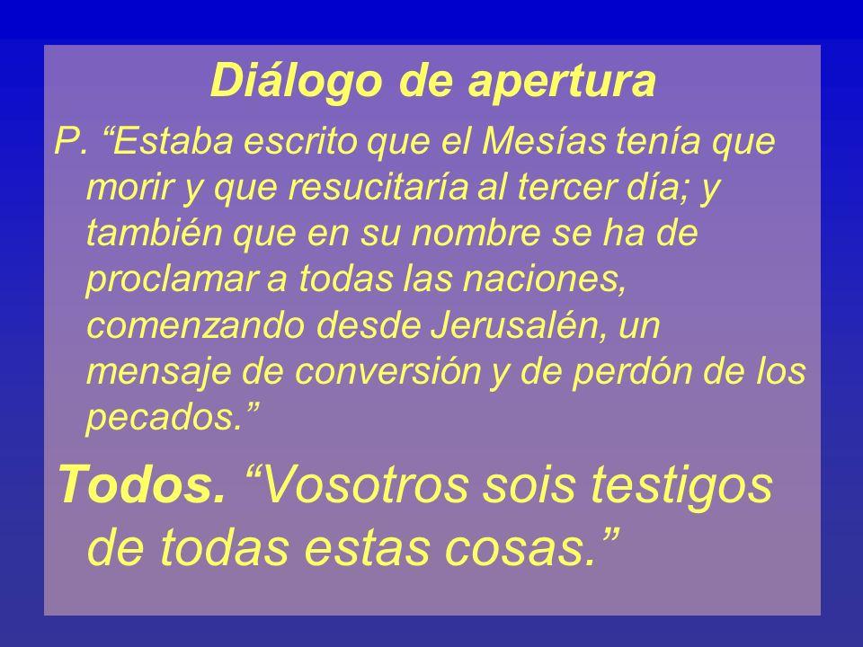 Diálogo de apertura P. Estaba escrito que el Mesías tenía que morir y que resucitaría al tercer día; y también que en su nombre se ha de proclamar a t