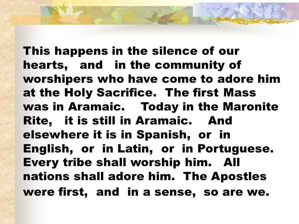 This happens in the silence of our hearts, and in the community of worshipers who have come to adore him at the Holy Sacrifice. The first Mass was in