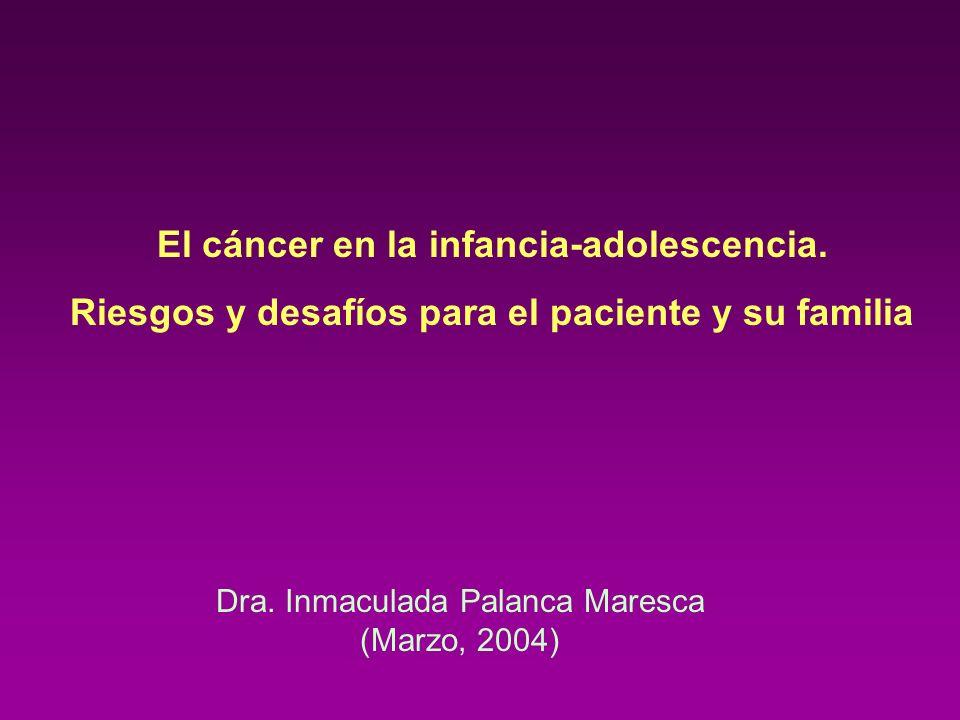 El cáncer en la infancia-adolescencia. Riesgos y desafíos para el paciente y su familia Dra. Inmaculada Palanca Maresca (Marzo, 2004)