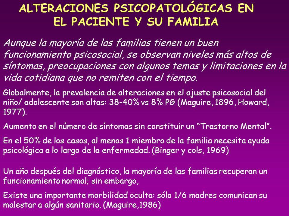 ALTERACIONES PSICOPATOLÓGICAS EN EL PACIENTE Y SU FAMILIA Aunque la mayoría de las familias tienen un buen funcionamiento psicosocial, se observan niv