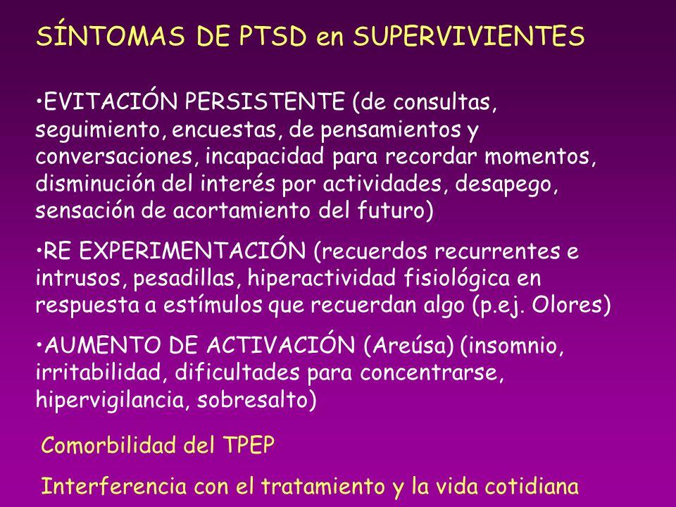 SÍNTOMAS DE PTSD en SUPERVIVIENTES EVITACIÓN PERSISTENTE (de consultas, seguimiento, encuestas, de pensamientos y conversaciones, incapacidad para rec
