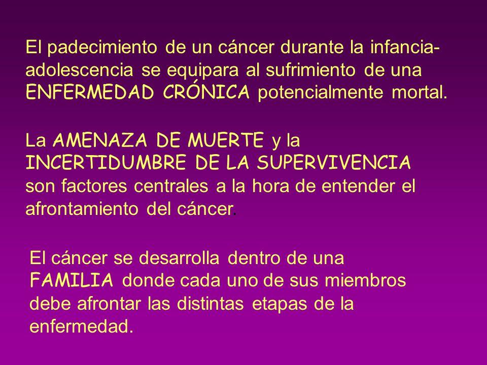 El padecimiento de un cáncer durante la infancia- adolescencia se equipara al sufrimiento de una ENFERMEDAD CRÓNICA potencialmente mortal. La AMENAZA