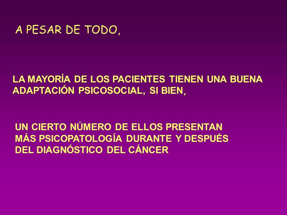 VARIABLES EN EL AFRONTAMIENTO DEL CÁNCER VARIABLES PERSONALES VARIABLES PERSONALES VARIABLES ENFERMEDAD VARIABLES ENFERMEDAD VARIABLES AMBIENTALES VARIABLES AMBIENTALES Tipo de cáncer Etapa de la Enfermedad Demandas del tratamiento Posible afectación S.N.C Tipo de cáncer Etapa de la Enfermedad Demandas del tratamiento Posible afectación S.N.C Edad Comprensión de la Enfermedad Concepto de muerte Comunicación del Diagnóstico Edad Comprensión de la Enfermedad Concepto de muerte Comunicación del Diagnóstico Adaptación de la Familia Funcionamiento Familiar Apoyo Socioeconómico Otros Estresores Adaptación de la Familia Funcionamiento Familiar Apoyo Socioeconómico Otros Estresores