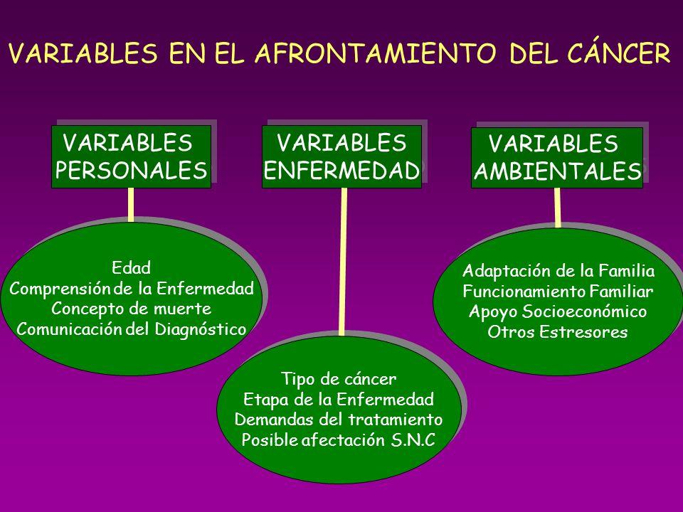 VARIABLES EN EL AFRONTAMIENTO DEL CÁNCER VARIABLES PERSONALES VARIABLES PERSONALES VARIABLES ENFERMEDAD VARIABLES ENFERMEDAD VARIABLES AMBIENTALES VAR