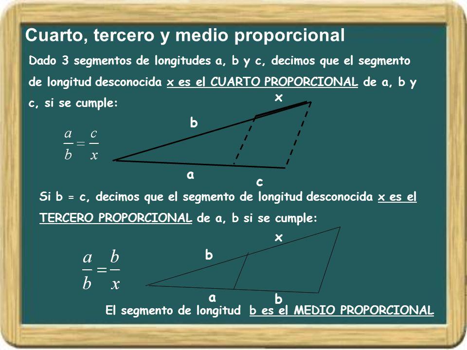 Cuarto, tercero y medio proporcional Dado 3 segmentos de longitudes a, b y c, decimos que el segmento de longitud desconocida x es el CUARTO PROPORCIO