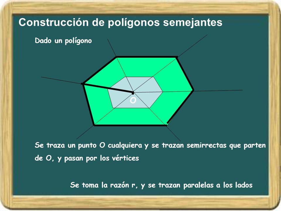 Construcción de polígonos semejantes Dado un polígono O Se traza un punto O cualquiera y se trazan semirrectas que parten de O, y pasan por los vértic
