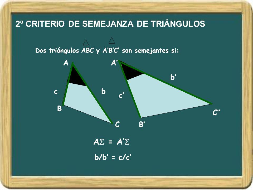 2º CRITERIO DE SEMEJANZA DE TRIÁNGULOS Dos triángulos ABC y ABC son semejantes si: A B C A B C A = A bc b c b/b = c/c