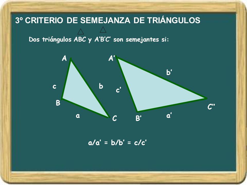 3º CRITERIO DE SEMEJANZA DE TRIÁNGULOS Dos triángulos ABC y ABC son semejantes si: A B C A B C bc b c a/a = b/b = c/c aa