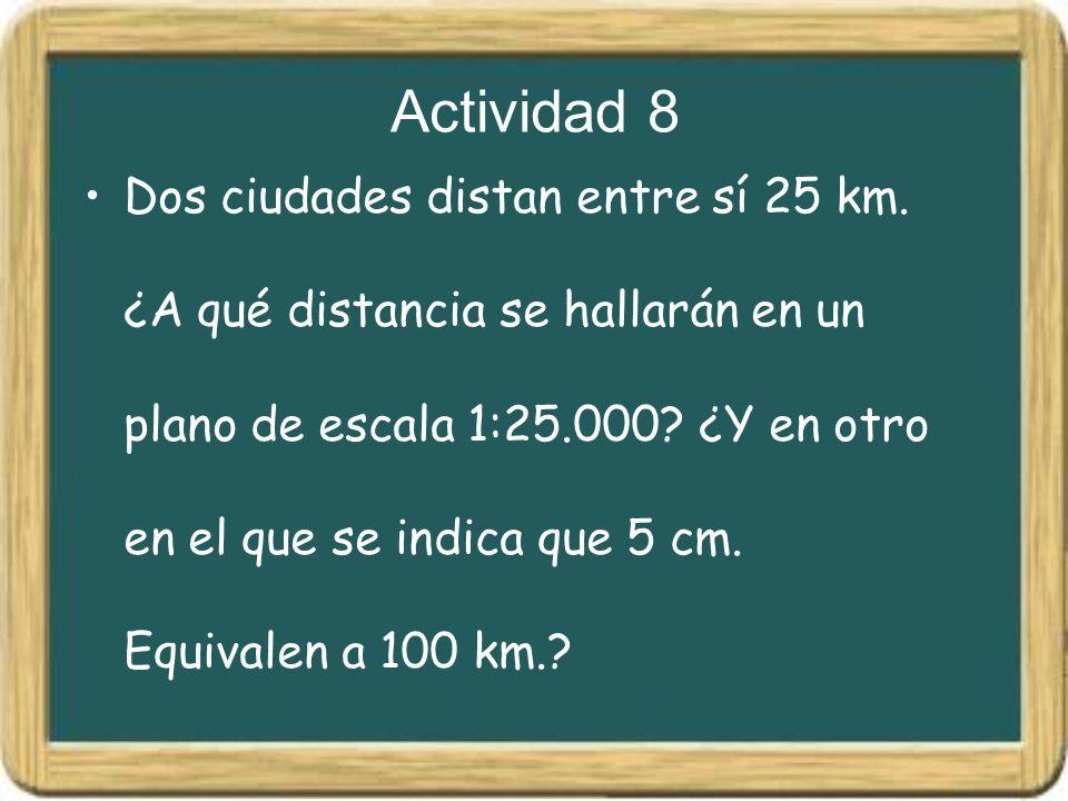 Actividad 8 Dos ciudades distan entre sí 25 km. ¿A qué distancia se hallarán en un plano de escala 1:25.000? ¿Y en otro en el que se indica que 5 cm.
