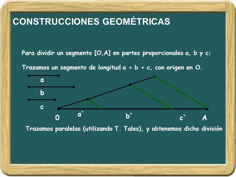 CONSTRUCCIONES GEOMÉTRICAS Trazamos un segmento de longitud a + b + c, con origen en O. Para dividir un segmento [O,A] en partes proporcionales a, b y