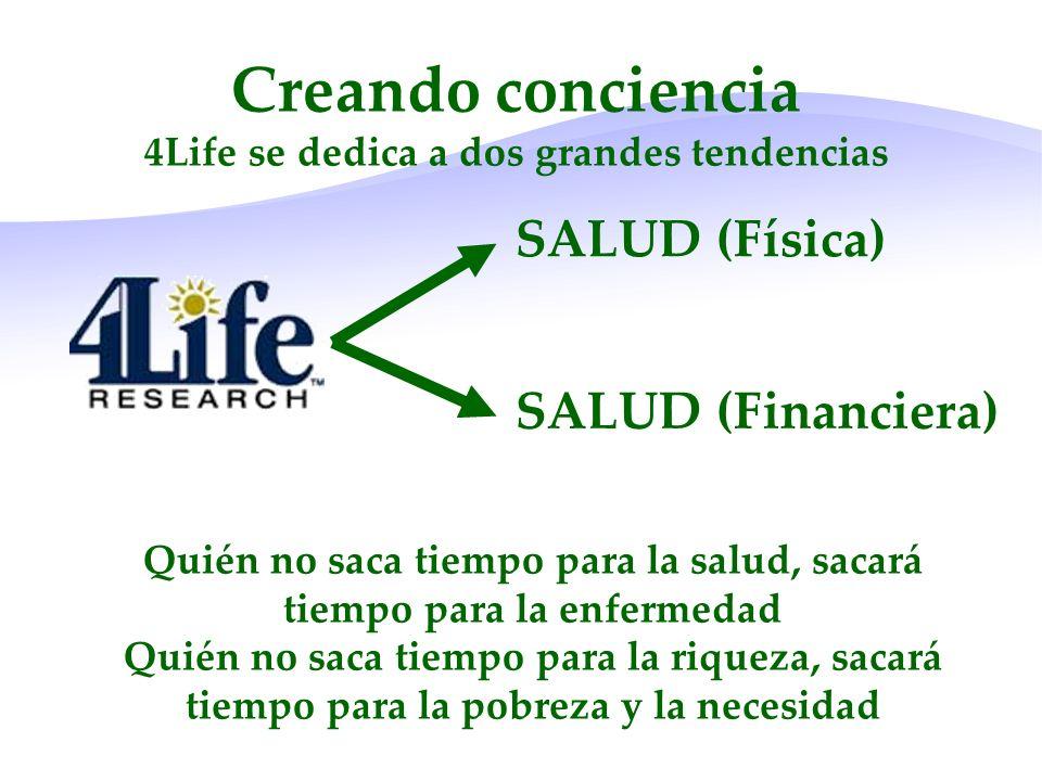 SALUD (Física) SALUD (Financiera) Creando conciencia 4Life se dedica a dos grandes tendencias Quién no saca tiempo para la salud, sacará tiempo para l