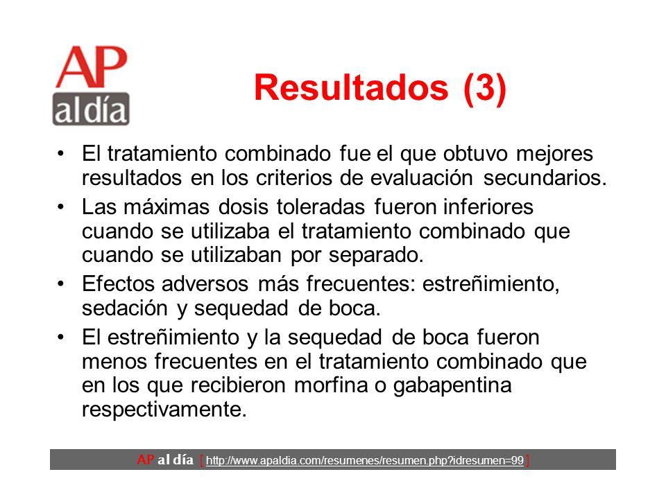 AP al día [ http://www.apaldia.com/resumenes/resumen.php?idresumen=99 ] Resultados (2) Las diferencias entre los tratamientos fueron estadísticamente
