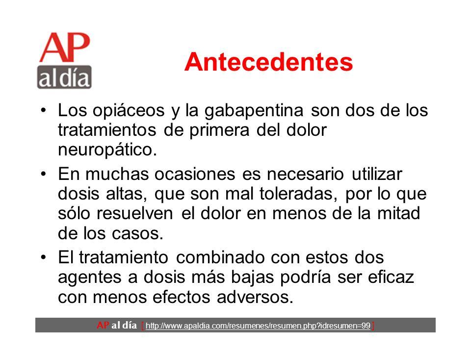 AP al día [ http://www.apaldia.com/resumenes/resumen.php?idresumen=99 ] Conclusiones El tratamiento combinado con morfina y gabapentina proporciona mayores niveles de analgesia con menores dosis que cada uno de estos fármacos por separado.