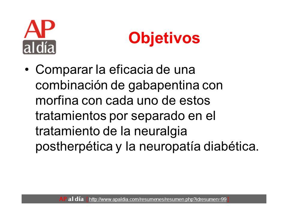 AP al día [ http://www.apaldia.com/resumenes/resumen.php?idresumen=99 ] Objetivos Comparar la eficacia de una combinación de gabapentina con morfina con cada uno de estos tratamientos por separado en el tratamiento de la neuralgia postherpética y la neuropatía diabética.