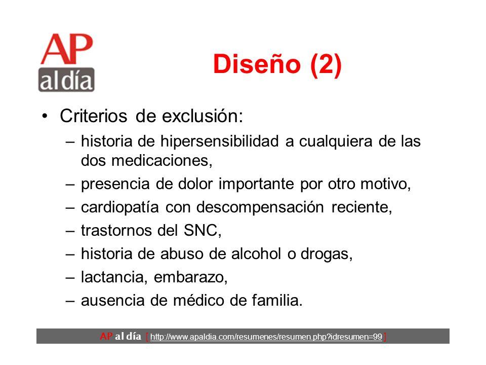 AP al día [ http://www.apaldia.com/resumenes/resumen.php?idresumen=99 ] Diseño (1) El estudio es un ensayo clínico aleatorio cruzado. Criterios de inc