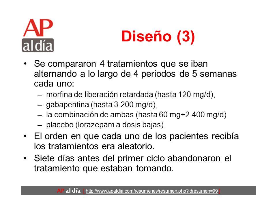 AP al día [ http://www.apaldia.com/resumenes/resumen.php?idresumen=99 ] Diseño (3) Se compararon 4 tratamientos que se iban alternando a lo largo de 4 periodos de 5 semanas cada uno: –morfina de liberación retardada (hasta 120 mg/d), –gabapentina (hasta 3.200 mg/d), –la combinación de ambas (hasta 60 mg+2.400 mg/d) –placebo (lorazepam a dosis bajas).