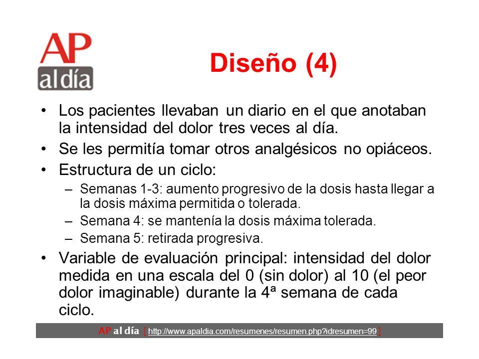 AP al día [ http://www.apaldia.com/resumenes/resumen.php?idresumen=99 ] Diseño (3) Se compararon 4 tratamientos que se iban alternando a lo largo de 4