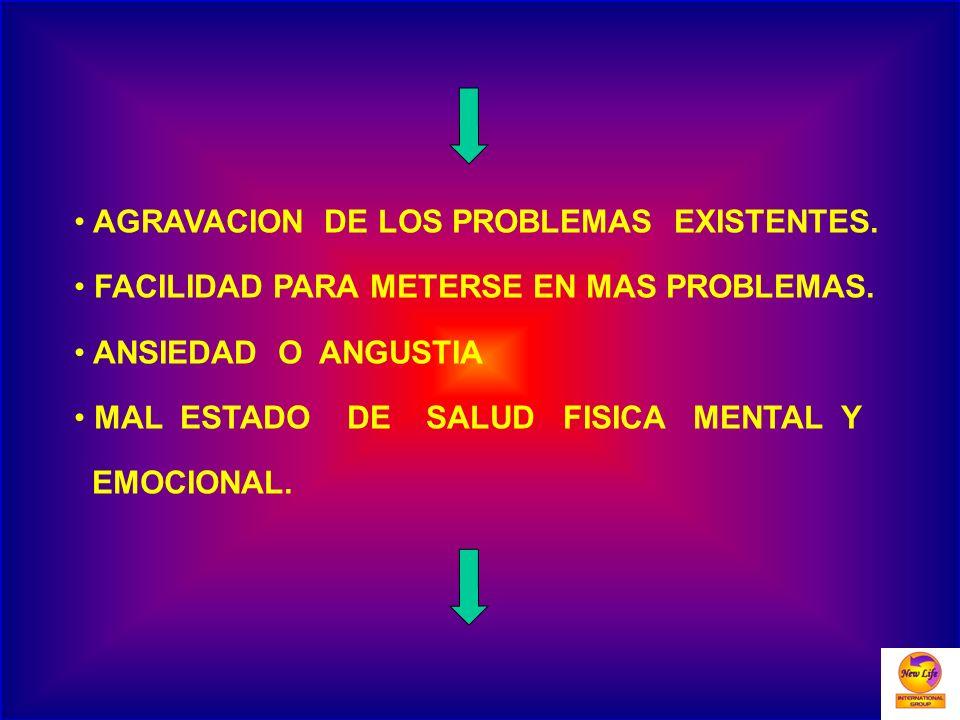AGRAVACION DE LOS PROBLEMAS EXISTENTES. FACILIDAD PARA METERSE EN MAS PROBLEMAS. ANSIEDAD O ANGUSTIA MAL ESTADO DE SALUD FISICA MENTAL Y EMOCIONAL.