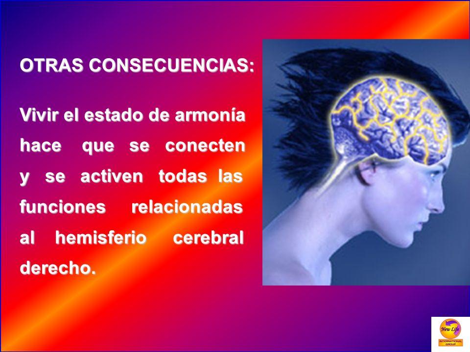 OTRAS CONSECUENCIAS: Vivir el estado de armonía hace que se conecten y se activen todas las funciones relacionadas al hemisferio cerebral derecho.