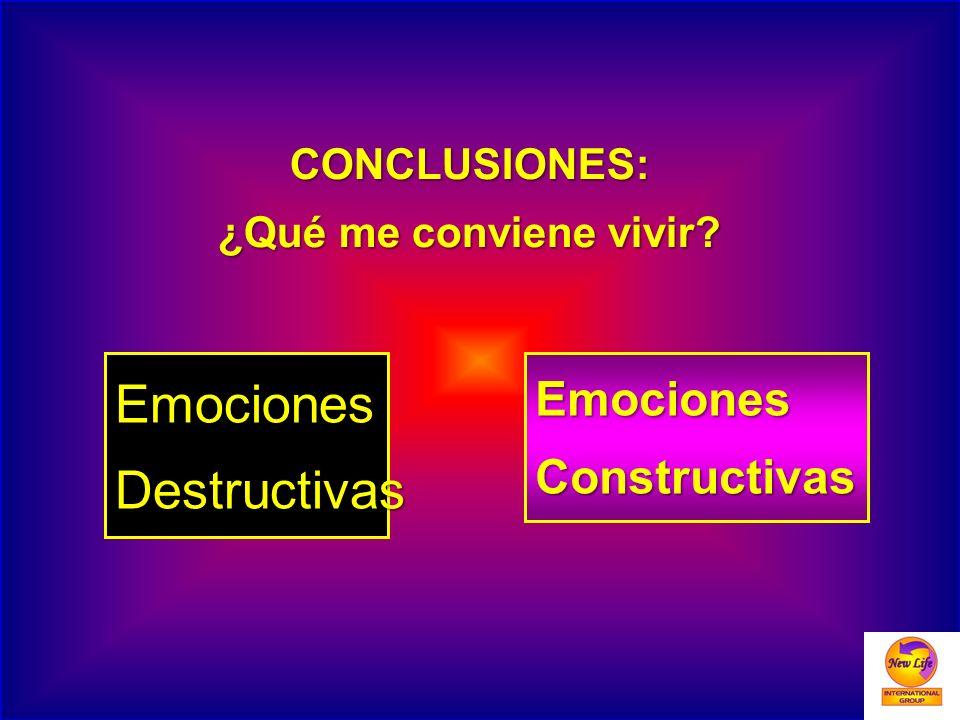 CONCLUSIONES: ¿Qué me conviene vivir? EmocionesConstructivasEmocionesDestructivas
