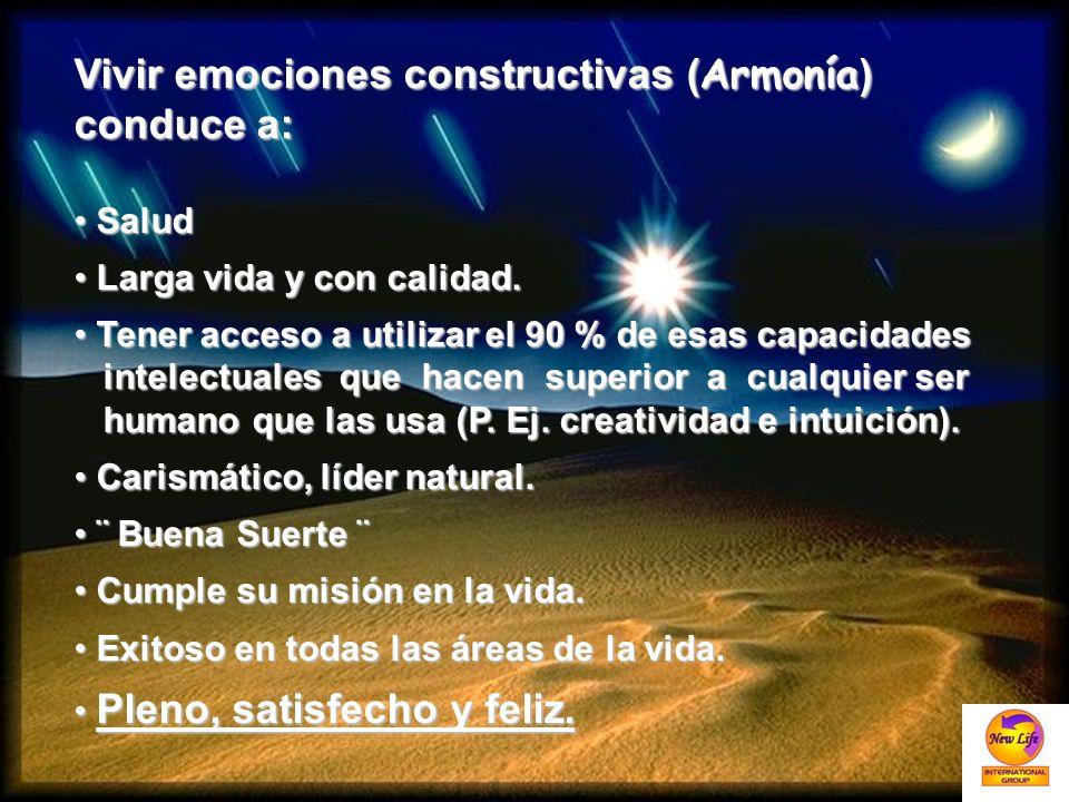 Vivir emociones constructivas ( Armonía ) conduce a: Salud Salud Larga vida y con calidad. Larga vida y con calidad. Tener acceso a utilizar el 90 % d