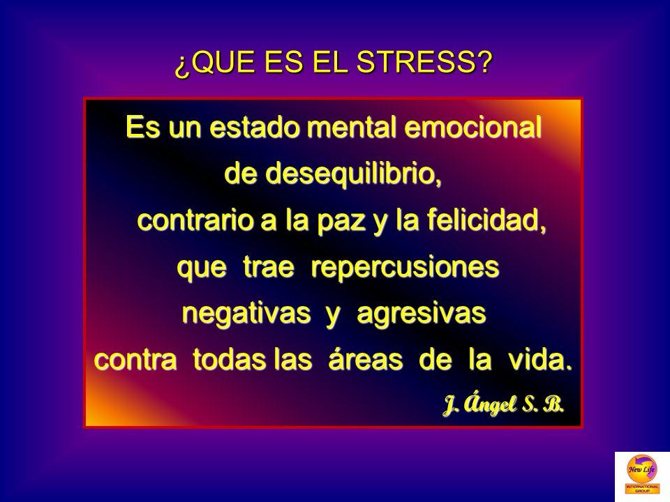 ¿QUE ES EL STRESS? Es un estado mental emocional de desequilibrio, contrario a la paz y la felicidad, contrario a la paz y la felicidad, que trae repe