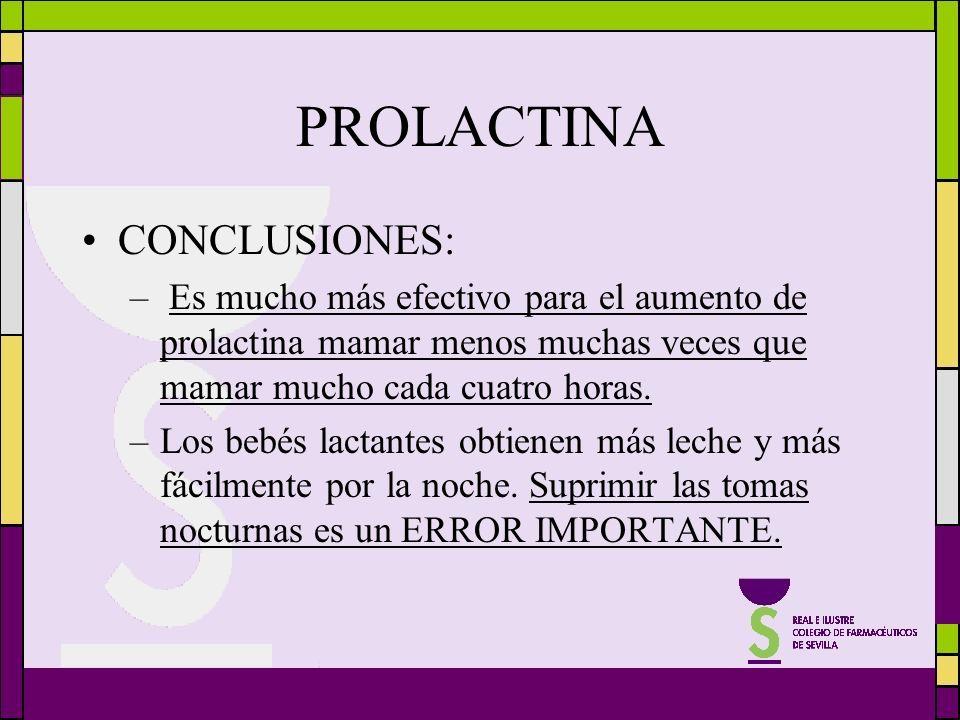 CONCLUSIONES: – Es mucho más efectivo para el aumento de prolactina mamar menos muchas veces que mamar mucho cada cuatro horas. –Los bebés lactantes o