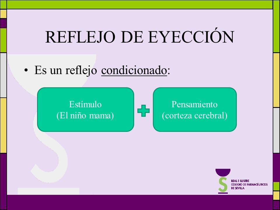 REFLEJO DE EYECCIÓN Es un reflejo condicionado: Estímulo (El niño mama) Pensamiento (corteza cerebral)