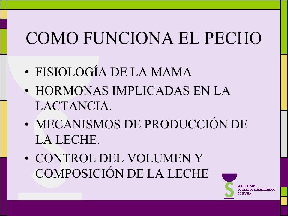 COMO FUNCIONA EL PECHO FISIOLOGÍA DE LA MAMA HORMONAS IMPLICADAS EN LA LACTANCIA. MECANISMOS DE PRODUCCIÓN DE LA LECHE. CONTROL DEL VOLUMEN Y COMPOSIC