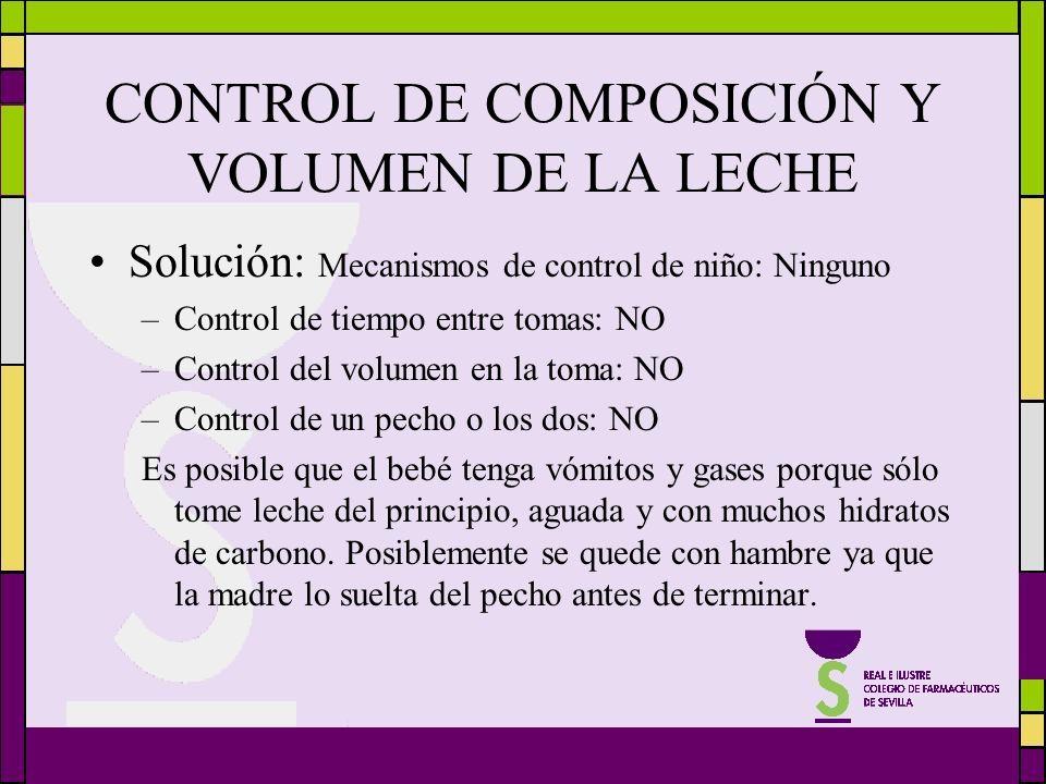 CONTROL DE COMPOSICIÓN Y VOLUMEN DE LA LECHE Solución: Mecanismos de control de niño: Ninguno –Control de tiempo entre tomas: NO –Control del volumen