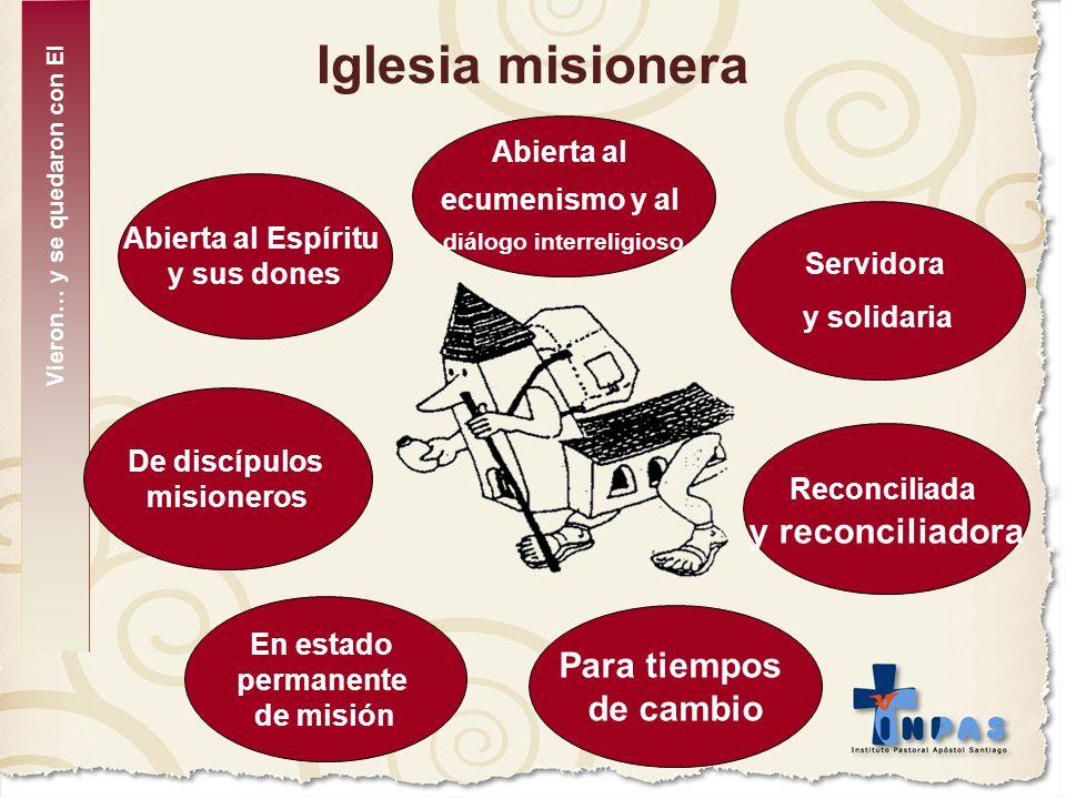 Iglesia misionera Abierta al Espíritu y sus dones En estado permanente de misión Para tiempos de cambio Reconciliada y reconciliadora Servidora y soli