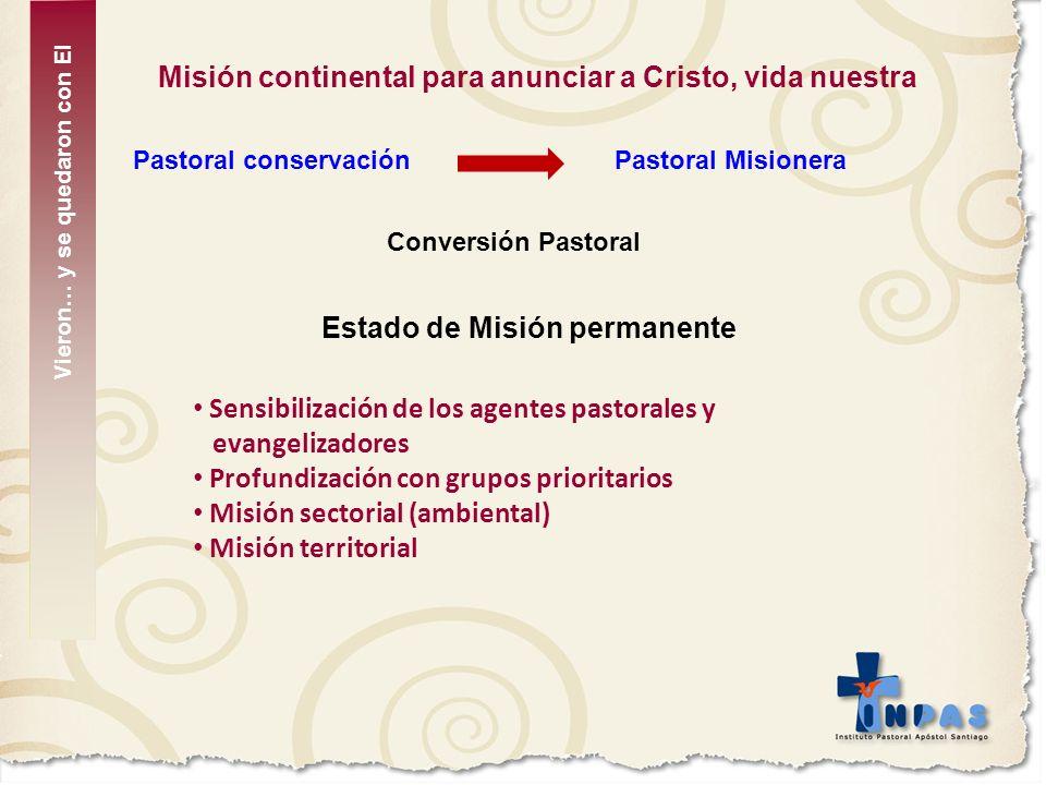 Misión continental para anunciar a Cristo, vida nuestra Pastoral conservaciónPastoral Misionera Conversión Pastoral Estado de Misión permanente Sensib