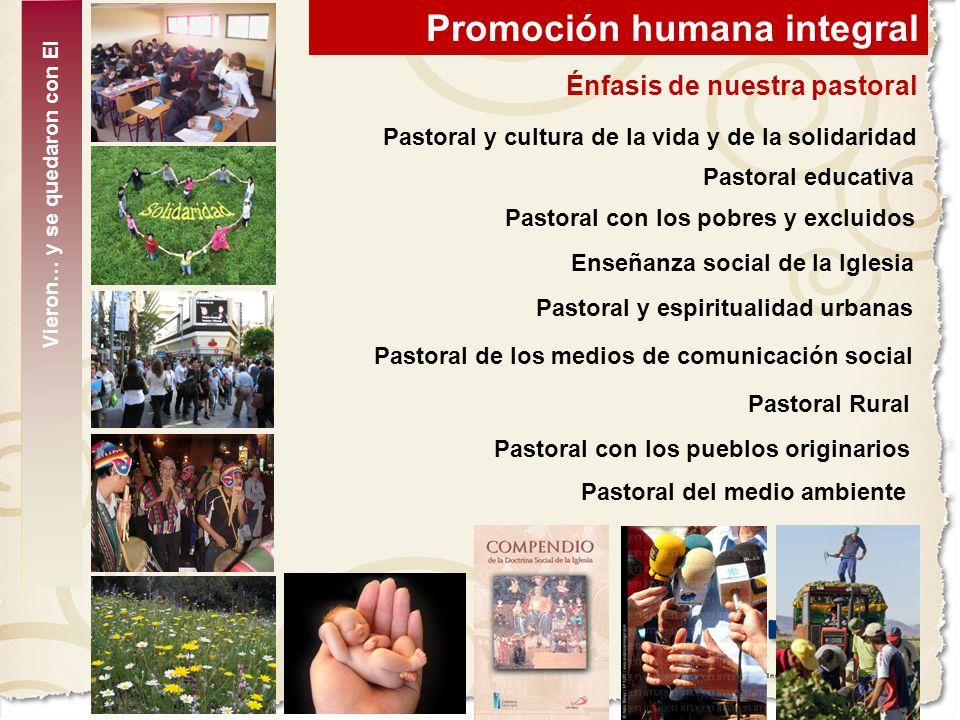 Promoción humana integral Énfasis de nuestra pastoral Pastoral y cultura de la vida y de la solidaridad Pastoral educativa Pastoral con los pobres y e