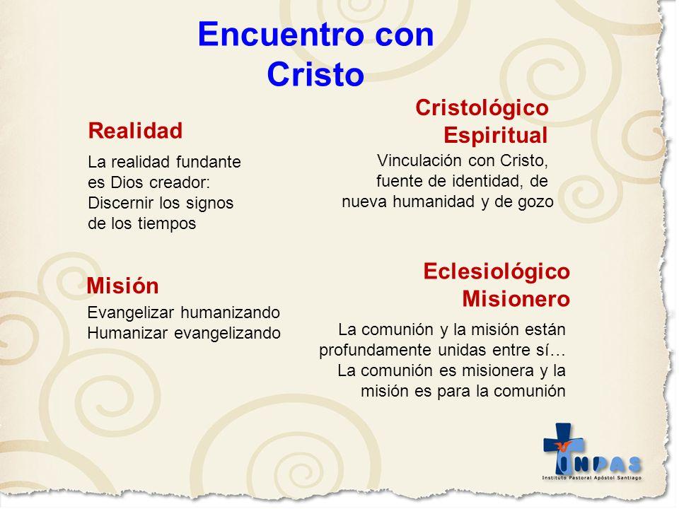 La realidad fundante es Dios creador: Discernir los signos de los tiempos Vinculación con Cristo, fuente de identidad, de nueva humanidad y de gozo La
