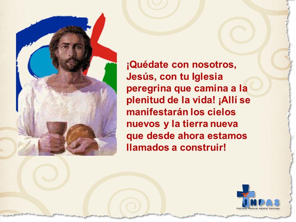¡Quédate con nosotros, Jesús, con tu Iglesia peregrina que camina a la plenitud de la vida! ¡Allí se manifestarán los cielos nuevos y la tierra nueva