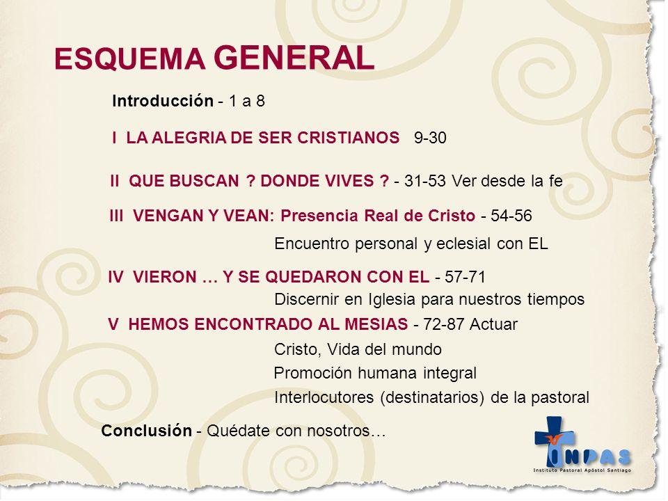 ESQUEMA GENERAL Introducción - 1 a 8 I LA ALEGRIA DE SER CRISTIANOS 9-30 II QUE BUSCAN ? DONDE VIVES ? - 31-53 Ver desde la fe III VENGAN Y VEAN: Pres