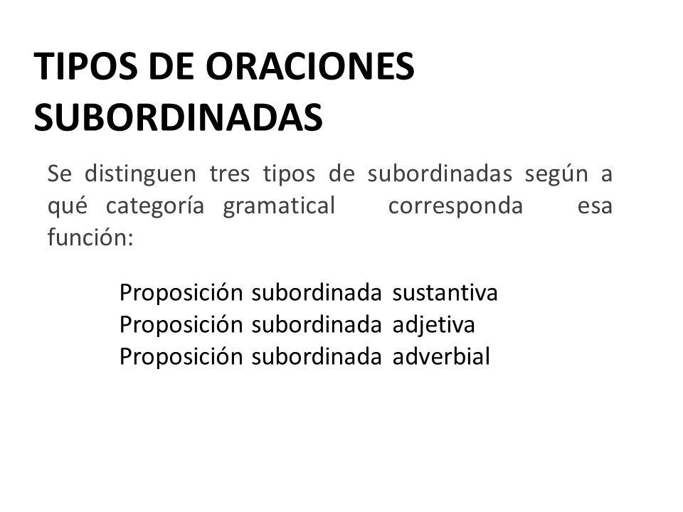 TIPOS DE ORACIONES SUBORDINADAS Se distinguen tres tipos de subordinadas según a qué categoría gramatical corresponda esa función: Proposición subordi