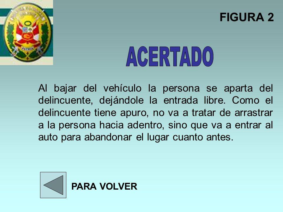 Al bajar del vehículo la persona se aparta del delincuente, dejándole la entrada libre. Como el delincuente tiene apuro, no va a tratar de arrastrar a
