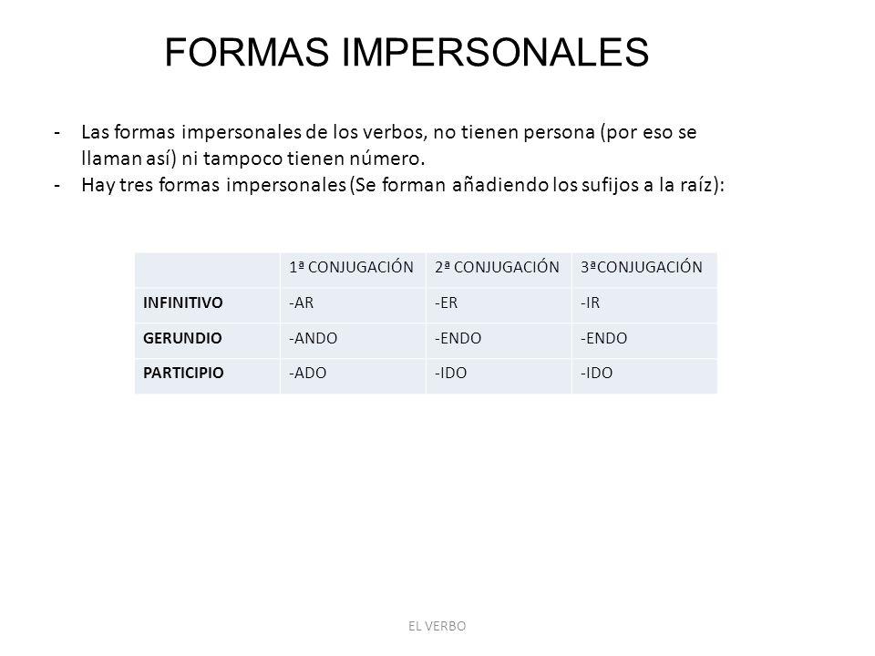 EL VERBO FORMAS IMPERSONALES -Las formas impersonales de los verbos, no tienen persona (por eso se llaman así) ni tampoco tienen número.