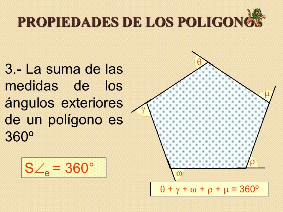 PROPIEDADES DE LOS POLIGONOS 3.- La suma de las medidas de los ángulos exteriores de un polígono es 360º S e = 360° + + + + = 360º