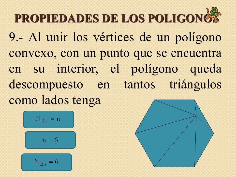 PROPIEDADES DE LOS POLIGONOS 9.- Al unir los vértices de un polígono convexo, con un punto que se encuentra en su interior, el polígono queda descompuesto en tantos triángulos como lados tenga