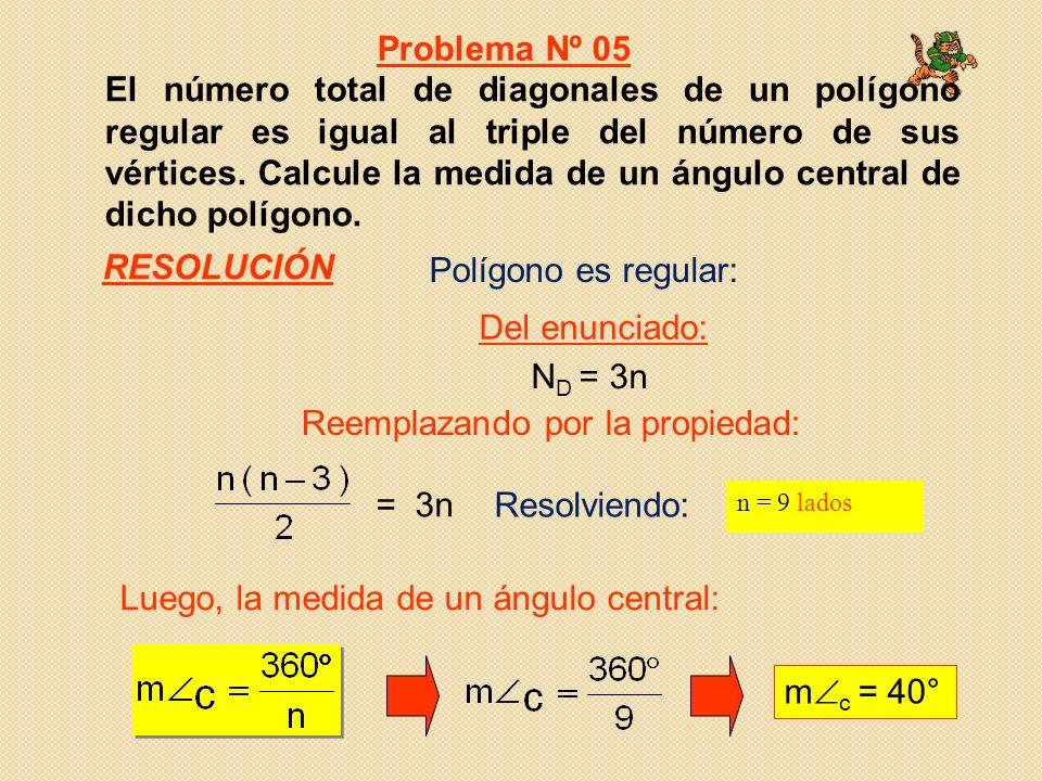 El número total de diagonales de un polígono regular es igual al triple del número de sus vértices. Calcule la medida de un ángulo central de dicho po