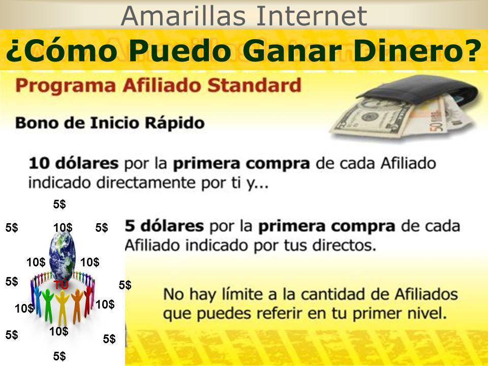 Amarillas Internet 10$ 5$ TÚ 10$ 5$ 10$ 5$ 10$ ¿Cómo Puedo Ganar Dinero
